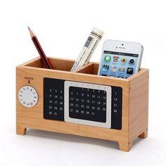 Wood Perpetual Calendar Storage Box, organization, office design, christmas gift idea