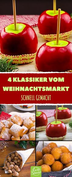 What comes to mind about Christmas market? Right, the delicious food! There are love apples, roasted almonds, Schmalzkuchen or Mutzen and Quarkbällchen. We have the recipes for Christmas snacks and de Christmas Snacks, Christmas Brunch, Christmas Breakfast, Apple Glaze, Roasted Almonds, Breakfast Bars, Candy Recipes, Caramel Apples, Food Videos