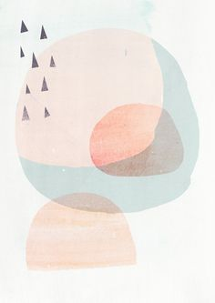 A3 Abstract Organic Shapes Art Print CIRCLES 2- Light Peach version - Fine Art Giclee Print via Etsy