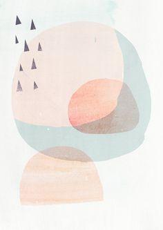A3 Abstract Organic Shapes Art Print CIRCLES 2- Light Peach version - Fine Art Giclee Print via Etsy