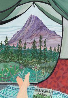illustration by Miranda Sofroniou - Travel Berg Illustration, Abstract Illustration, Mountain Illustration, Travel Illustration, Illustrations, Nature Prints, Art Prints, Mountain Art, Camping Theme