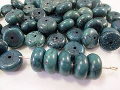 Turquoise Beads Denim Jean Blue Fat Rondelle Spacer by FLcowgirls #beadsforsale #boho #cowgirl