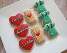 Nurse Cookies 24 Two Dozen by OldTimeFavorites on Etsy Cupcakes, Cupcake Cookies, Fondant Cookies, Cookie Icing, Royal Icing Cookies, Nurse Cookies, Iced Sugar Cookies, Cookie Designs, Cookie Ideas