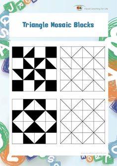 Traingle Mosaic Blocks 36 FREE pattern cards Wonderful Spatial Skills and Figure Ground perception activity is part of Visual learning -