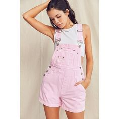 Urban Renewal Recycled '90s Overdyed Shortall Overall ($69) ❤ liked on Polyvore featuring jumpsuits, short overalls, shorts overalls, pink jumpsuits, vintage overalls and pink bib overalls