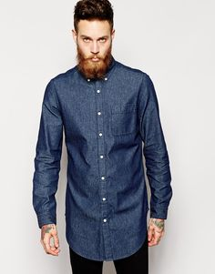 Denim shirt by ASOS Made from cotton denim Button down collar Chest patch  pocket Rinse wash