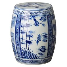 Four Seasons Garden Stool/Table with a Blue & White Hand Painted Glaze. Four different scenes, as pictured. Ceramic Garden Stools, Glaze Paint, Patio Accessories, The Perfect Touch, Four Seasons, White Ceramics, Accent Decor, Color Pop, Porcelain