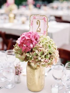 mason jars glammed up with #gold paint #centerpieces #hydrangeas Photography: Melissa Brandman - melissabrandman.com, Florals by http://www.classicsflowersandgifts.com/index.php  Read More: http://stylemepretty.com/2013/10/24/bel-air-california-wedding-from-melissa-brandman-photography/