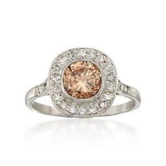 Ross-Simons - C. 2000 Vintage 1.05 Carat Certified Brown Diamond Ring With .40 ct. t.w. Diamonds in Platinum. Size 6.5 - #774532