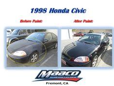 1998 Honda Civic Before & After! Come by today for a free written estimate! Honda Vehicles, Collision Repair, Honda Cars, Car Painting, Honda Civic, Tattoos, Free, Tatuajes, Japanese Tattoos
