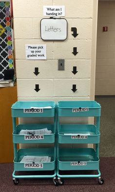 Classroom organization: Turn an IKEA kitchen cart (Raskog) into an assignment cart. Ditch those dusty plastic desktop organizers/letter trays and substitute for one of these movable carts. Save time by. Middle School Classroom, New Classroom, Middle School Science, Classroom Design, Classroom Setup, Modern Classroom, English Classroom Decor, Highschool Classroom Decor, Science Classroom Decorations