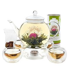 Teabloom Complete Blooming Tea Set: Glass Teapot, 12 Flowering Tea Sampler, Teapot Warmer, 4 Double-Wall Glasses & Loose Tea Infuser - Best Flowering Tea Gift Set - Cool Kitchen Gifts