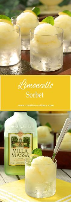 Limoncello Sorbet is light and lemony and simply lovely! via Creative Culinary | Limoncello, Juicing, Sorbet, Smoothies, Summer, Creative, Juice, Summer Time, Smoothie