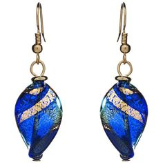 Martick Twist Murano Glass Drop Earrings, Blue/Gold (68 AUD) ❤ liked on Polyvore featuring jewelry, earrings, gold twist earrings, yellow gold earrings, blue earrings, gold jewelry and blue drop earrings