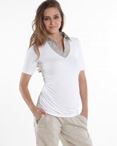 1d93a02598566 The perfect fit white maternity top is crafted in a combination of soft  knit and woven