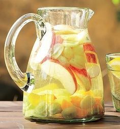 White Sangria Recipe...chardonnay, triple sec, peach schnapps, light rum, brandy, apple pucker,orange juice...add diced fruit...YUMMO!