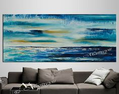 Abstract Painting 72 Blue Red cold and warm effect by largeartwork