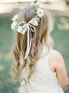 Floral crowned flower girl cuteness: http://www.stylemepretty.com/texas-weddings/dallas/2016/01/04/organic-traditionally-elegant-wedding-in-dallas/ | Photography: Heather Hawkins - http://heatherhawkinsphoto.com/                                                                                                                                                      More
