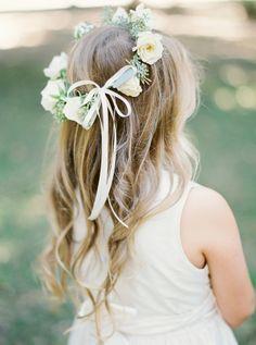 Floral crowned flower girl cuteness: http://www.stylemepretty.com/texas-weddings/dallas/2016/01/04/organic-traditionally-elegant-wedding-in-dallas/ | Photography: Heather Hawkins - http://heatherhawkinsphoto.com/