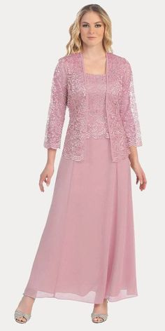 This long modest silver dress is perfect for mother of the bride or another formal occasion. This chiffon lace with pebble dress has wide sleeveless tank straps and also includes a matching 3 4 length sleeve lace bolero jacket. Lace Bolero Jacket, Gown With Jacket, Jacket Dress, Moda Festa Plus Size, Moda Plus Size, Mob Dresses, Fashion Dresses, Fashion Fashion, Chiffon Dress