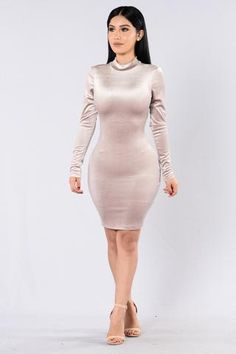 Velvet Cupcake Dress - Taupe