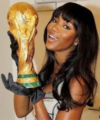 Naomi Campbell Models Wearing for 24 Carat Gold Headphones in 2014 Football Final