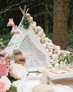 Fairytale gorgeousness at our fairy tea party shoot! Our gorgeous lace teepee is perfect for kids parties, baby showers, girly get togethers and garden parties! It can be styled to suit any theme. Picnic Birthday, Fairy Birthday Party, Garden Birthday, Birthday Party Decorations, Girl Birthday, Birthday Parties, Bohemian Birthday Party, Outdoor Birthday, Garden Party Decorations
