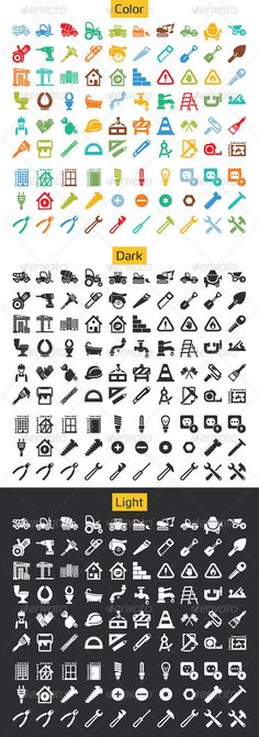 90 Flat Construction and Hand Tool Icons #icons