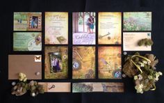 """Amazing Invitations! """"Vintage Fairy Tale Meets Grandma's Junk Drawer"""" - 5 pieces front on top and backs directly below. Mailed with a matching belly band and inside a kraft envelope. Custom designed by the bride."""