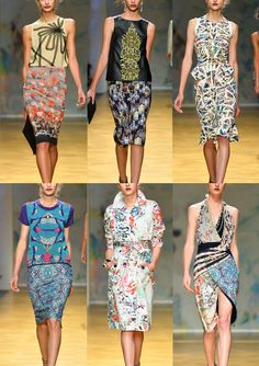 Nicole Miller S/S 2014-Floral and Print mix – Blurred and double exposed Prints – Shared & Fractured Looks – Intense Micro Kaleidoscope Effects  - Painted Floral –...