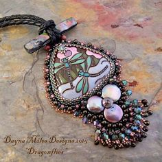 Dragonflies  Bead Embroidery Pendant by DaynaMilesDesigns on Etsy
