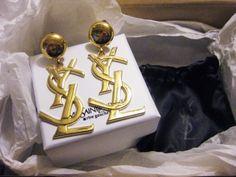 YSL logo earrings (a la SATC)