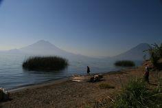 View of the volcanoes Atitlan Guatemala, Lake Atitlan, Volcanoes, Luxury Villa, Hotels And Resorts, Mount Rainier, How Are You Feeling, Adventure, Mountains