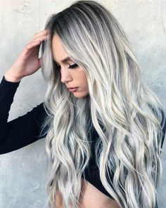 If you like blonde hair shading, you ought to have all out and suitable data about which blonde hair shading considerations are perfect for which seas. Ombre Curly Hair, Ombre Hair Color, Long Curly Hair, Curly Hair Styles, Beach Hair Color, White Ombre Hair, Blonde Ombre Hair, Silver Ombre Hair, Icy Blonde