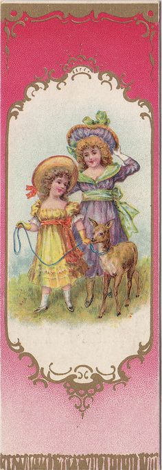 https://flic.kr/p/oDLqRa | chromo bookmarks - bougies bollinckx - anderlecht - two girls - smaller one leading a deer on a rope