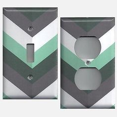 Charcoal Gray Mint Green & White Chevron Stripes Light Switchplates Outlet Cover