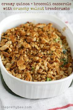Creamy quinoa and broccoli casserole with crunchy walnut breadcrumbs. Vegan and gluten free.