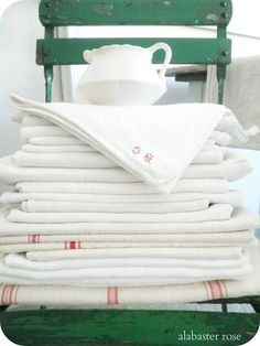 Beautiful stack of linens (from Alabaster Rose Lifestyle)