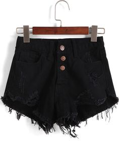 SHEIN offers Single-breasted Ripped Fray Hem Denim Shorts & more to fit your fashionable needs. High Waisted Ripped Shorts, Distressed High Waisted Shorts, Ripped Jean Shorts, Black Denim Shorts, Waisted Denim, Denim Jeans, Black Distressed Shorts, Mein Style, Jeans For Short Women