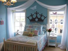 teen room, Blue Bedroom Design Ideas For Women Design With Comfortable Bed With Blue Duvet Covers And Pillow With Chandelier With Glass Window And White Curtain With Table Lamp On The Small Table With Single Drawer: Bedroom Ideas for Women Decor, Room, Room Design, Small Bedroom Decor, Bedroom Design, Home Decor, Girl Room, Bedroom Decals, Blue Bedroom