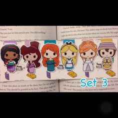 Princesses magnetic bookmarks set 3 by HappyHelloCo at Etsy