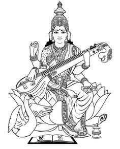 Doodle Art Drawing, Doodle Sketch, Cool Art Drawings, Art Drawings Sketches, Mandala Drawing, Saraswati Painting, Tanjore Painting, Saraswati Goddess, Goddess Art