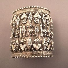 Iran | Old silver bracelet decorated with floral motives