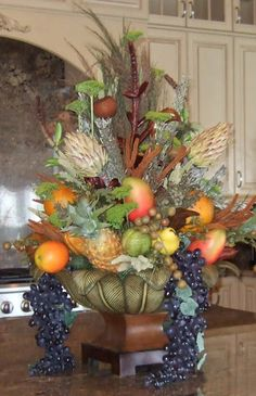 Ana Silk Flowers: How to Use Fruit in Artificial Floral Arrangements.- Ana Silk Flowers: How to Use Fruit in Artificial Floral Arrangements… Ana Silk Flowers: How to Use Fruit in Artificial Floral… - Artificial Floral Arrangements, Silk Floral Arrangements, Fruit Arrangements, Artificial Flowers, Christmas Arrangements, Kitchen Centerpiece, Fruit Centerpieces, Kitchen Arrangement, Tuscan Decorating