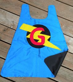 Personalized Superhero Cape - doublesided cape choose your initial -