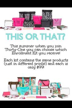 Thirty one starter kit summer 2014 for only $99! Join my team https://www.mythirtyone.com/524694/