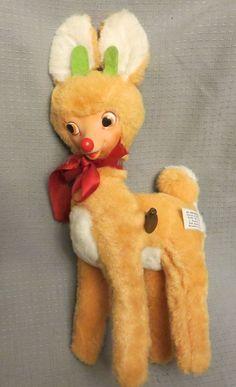 VINTAGE GUND SWEDLIN Rudolph Christmas Reindeer rubber face stuffed Musical Toy in Toys & Hobbies, Stuffed Animals, Vintage | eBay