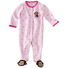JUST ONE YOU ™ Made by Carters ® Newborn Girls Monkey Interlock Sleep N Play - Pink/Brown