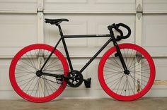 Red Rim Red Tire Fixie - Nice Nice!