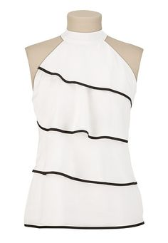 Tiered Mock Neck Top with Piping Casual Outfits, Fashion Outfits, Womens Fashion, Tiered Tops, Tango Dress, Couture Tops, Work Attire, Top Pattern, Nice Tops